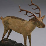 Carved and Painted Pine Deer