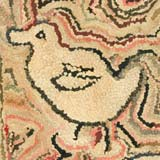Cat, Duck and Bird Hooked Rug
