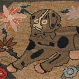 Hooked Rug of a Large Dog