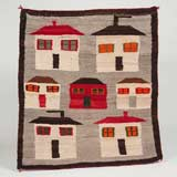 Pictorial Houses Navajo Rug