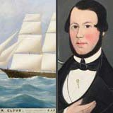Rare Pair of Paintings: Ship and a Portrait of its Captain