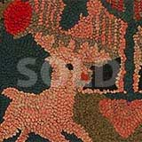 Reindeer and Bird Tree Hooked Rug